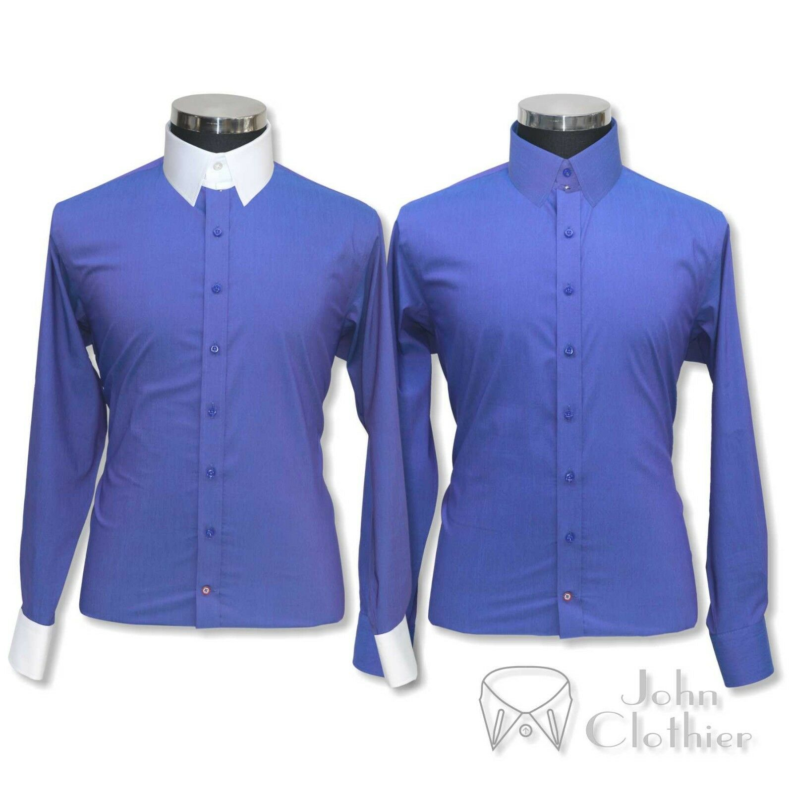 Herren Tab collar Banker shirt Royal Blau plain Cotton Loop James Bond for Gents