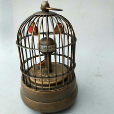 Works vintage vividly brass birdcage machine clock with cute bird
