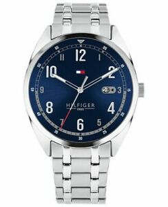 Tommy-Hilfiger-Men-039-s-Stainless-Steel-Blue-Dial-Silver-Date-Watch-1791569