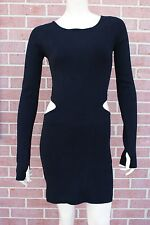 BCBG Max Azria Black Knit Bodycon Side Cut Out Dress M New with Tags! RP $288.00