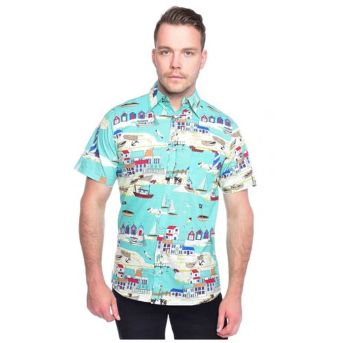 Seaside Beach Print Shirt by Run and Fly Retro Summer Hawaiian M BNWT//NEW
