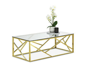 Deco Luxe Rectangular Coffee Table Polished Gold Metal Frame