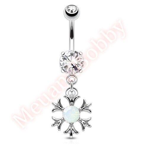 Opalite Sun Belly Button Barbell Navel Bar Ring Dangle Body Piercing Jewellery