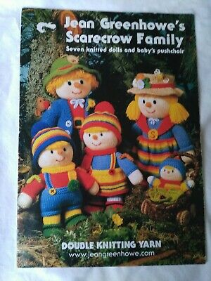 Jean Greenhowe/'s Knitting Pattern Scarecrow Family 7 Dolls + Pushchair