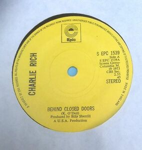 VINTAGE-7-034-VINYL-RECORD-by-CHARLIE-RICH-034-BEHIND-CLOSED-DOORS-034