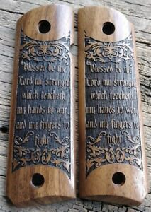 1911 Grips Psalm 144 1 Bible Verse Walnut Fits Colt Kimber