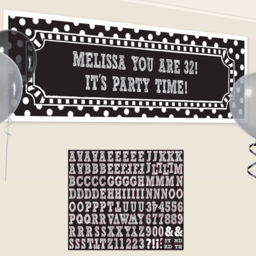 BLACK /& WHITE Birthday Party Range Tableware Balloons Banners /& Decorations {1C}