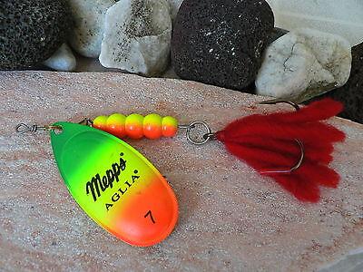6 Stück 1 Gratis Gr 5 x Mepps Aglia Fluo weiss 0 mit 2,5 g Spinner