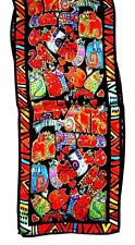 SCARF Long Silk Red Orange Green Blue Black Background FRIENDLY KITTY CATS