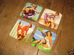 Pin-Ups-Glamour-1950s-American-Art-Drinks-Coaster-Set-3