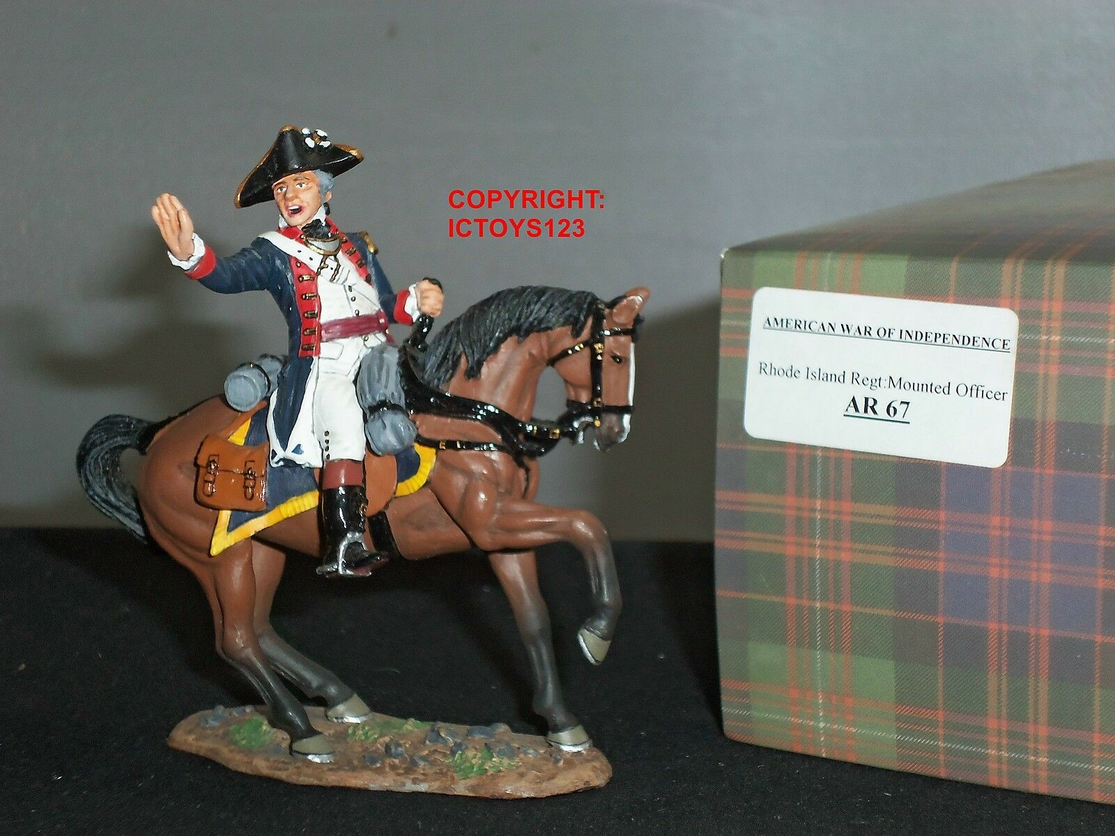 KING AND COUNTRY AR37 RHODE ISLAND REGIMENT OFFICER MOUNTED METAL TOY SOLDIER