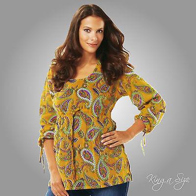 Leichte Damen Tunika Bluse Langarm Hauchdünn Stretch Lagenlook Gr.52 mango gelb