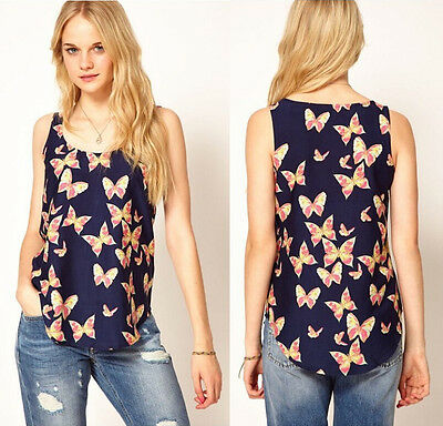 Fashion Women's Butterfly Print Tank Tops Vest Chiffon Blouse Sleeveless T-Shirt