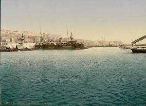 Alger-Port-avec-navires-de-guerre-PZ-vintage-photochromie-Algerie-photochr