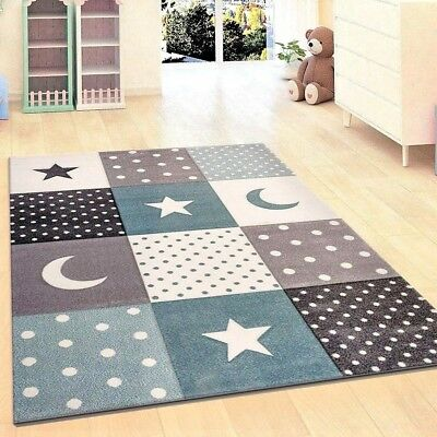 Children Rug Boys Bedroom Carpet Blue Grey Nursery Rugs Stars Soft Play  Room Mat | eBay