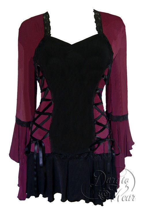 Dare To Wear Victorian Gothic Plus Größe Bolero Corset Top in Burgundy schwarz