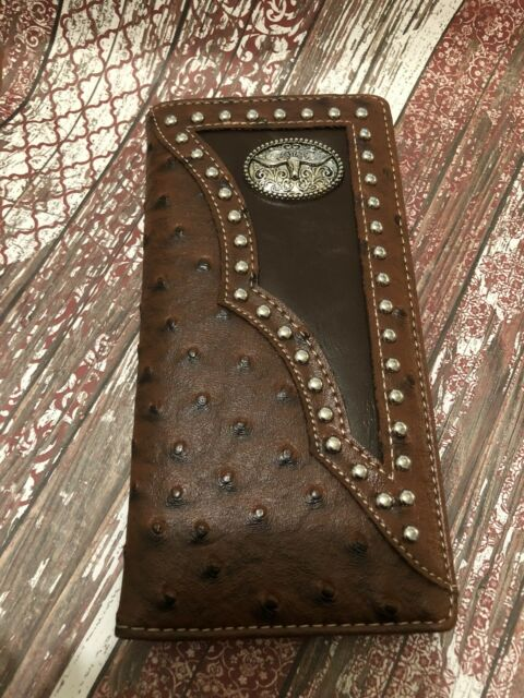 BROWN RODEO LONGHORN STUD  COWBOY CONCHO HORSE Mens Bifold Long Wallet Western