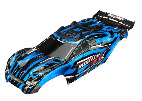 Traxxas 6718X Kropp, Rustler 4X4, blå  fönster, grill, ljus dekal plåt