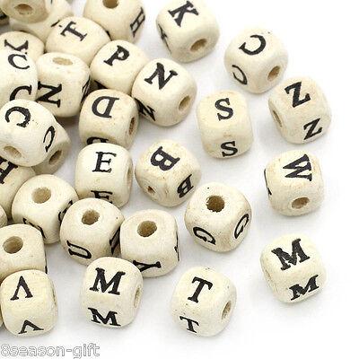 "HX 200PC Natural Mixed A-Z Alphabet/ Letter Cube Wood Beads 10x10mm(3/8""x3/8"")"