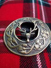 HW Stag Head Fly Plaid Brooch Antique Finish/Kilt Plaid Brooch Stag Deer Head