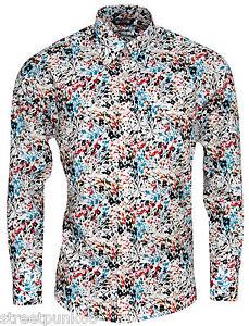 Relco-Hombre-Multicolor-Abstracto-Floral-manga-larga-con-botones-Camisa-Vintage
