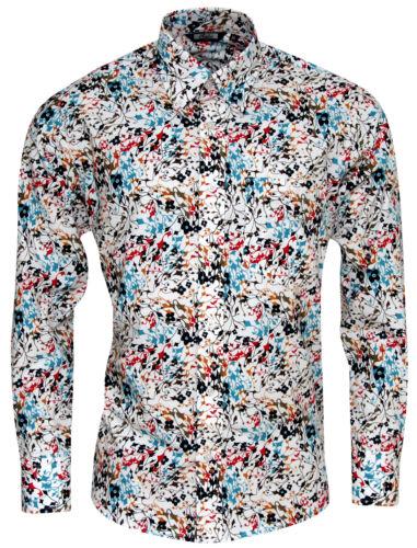 Relco Herren Bunt Abstrakt Blumen Langärmlig Knöpfe Klassisches Hemd