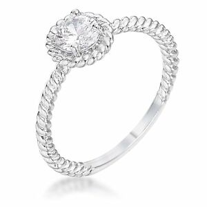 14K-White-Gold-GB-Twisted-Solitaire-50ct-Sim-Diamond-Size-8-Promise-Ring-G89