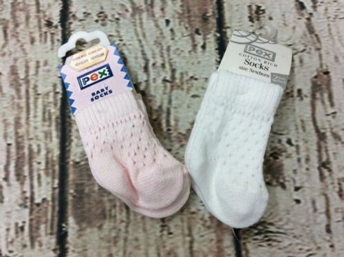 White Pack of 2 Pink Pex Spanish Dotty Open Knit Pelarin Ankle Socks,