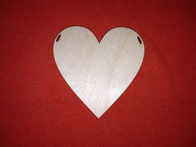10 x HEART 7cm & ribbon slots UNPAINTED BLANK WOODEN SHAPE BUNTING HANGING TAG