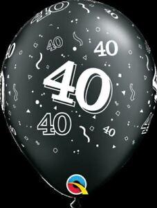 Qualatex-40th-Anniversaire-Ballons-a-L-039-Helium-Age-40-Ans-Noir-amp-Argente