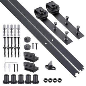 6-6-FT-Carbon-Steel-Sliding-Barn-Wood-Door-Hardware-Track-Roller-Kit-Set-Black