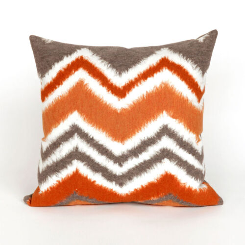 Modern and Contemporary Chevron Ikat Orange and Gray Pillow Various Sizes