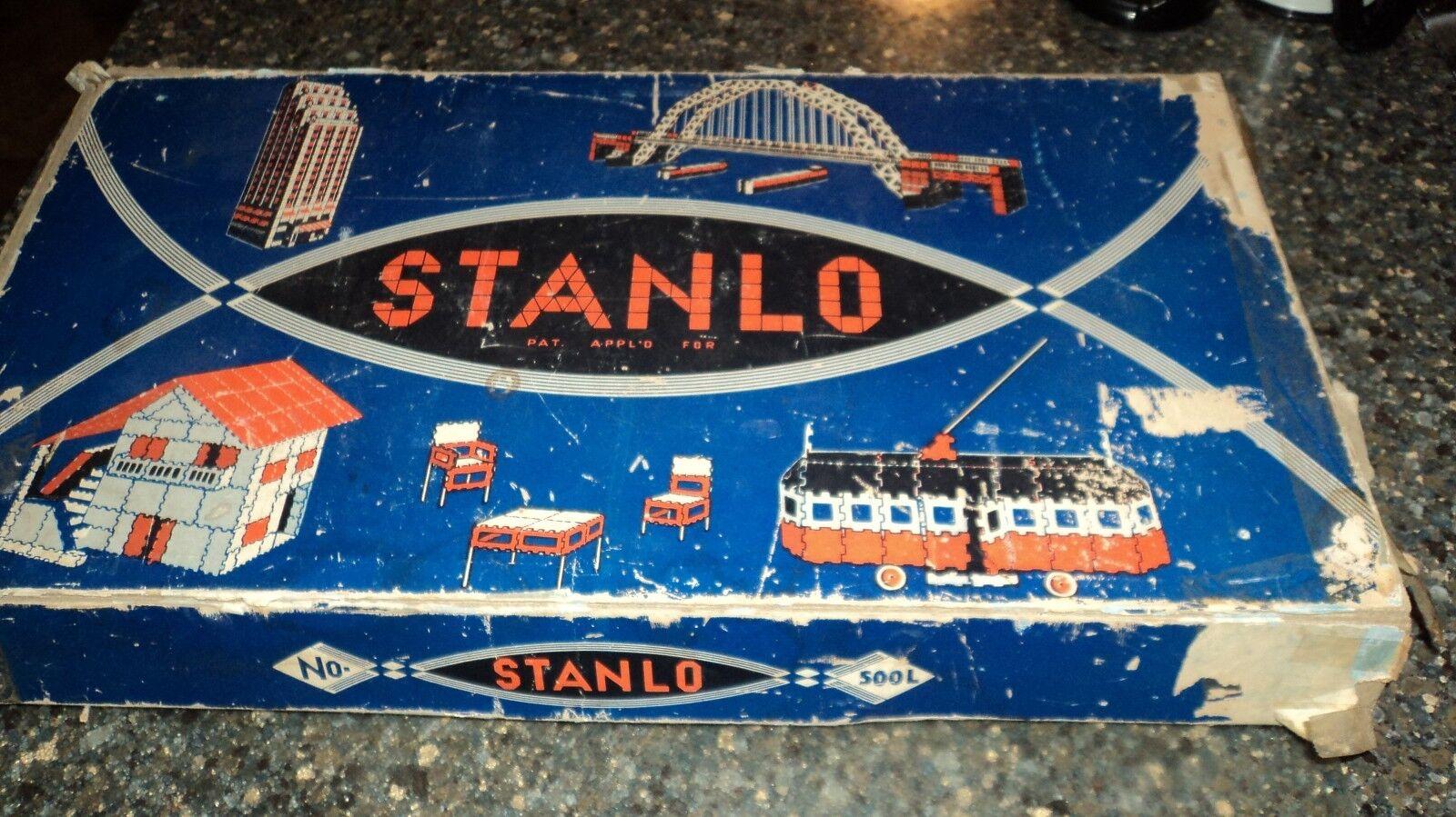 Construcción Vintage sanlo Set 1937 Modelo no. 500 L Caja y libro de instrucciones