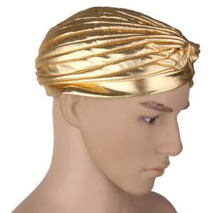 FULL-HEAD-TURBAN-HEADWRAP-INDIAN-STYLE-HEAD-WRAP-BANDANA-HAT-HAIR-LOSS-GOLD
