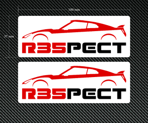 R35PECT Stickers//Decals 2 x 100mm x 37mm on a white background Skyline JDM