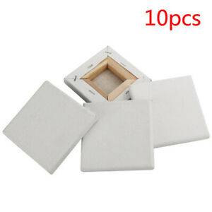 10Pcs Blank White Mini Small Stretched Artist Canvas Art Board Acrylic Oil Paint
