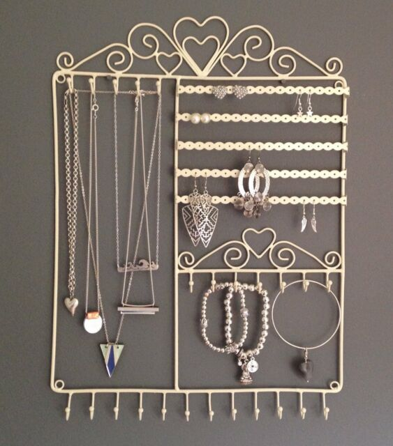 Large Jewellery Wall Hanger Holder Stand  Tree Cream Metal Necklace Earrings