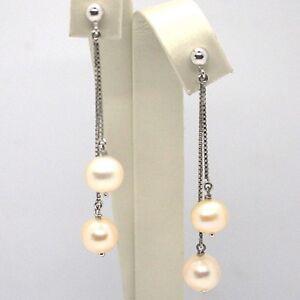 Drop-Earrings-White-Gold-18K-Double-Chain-Venetian-Pearl-White-And-Fishing