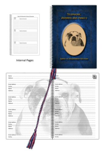 Bulldog Dog A5 Address Telephone Book with Dates section in 3 colours Gift