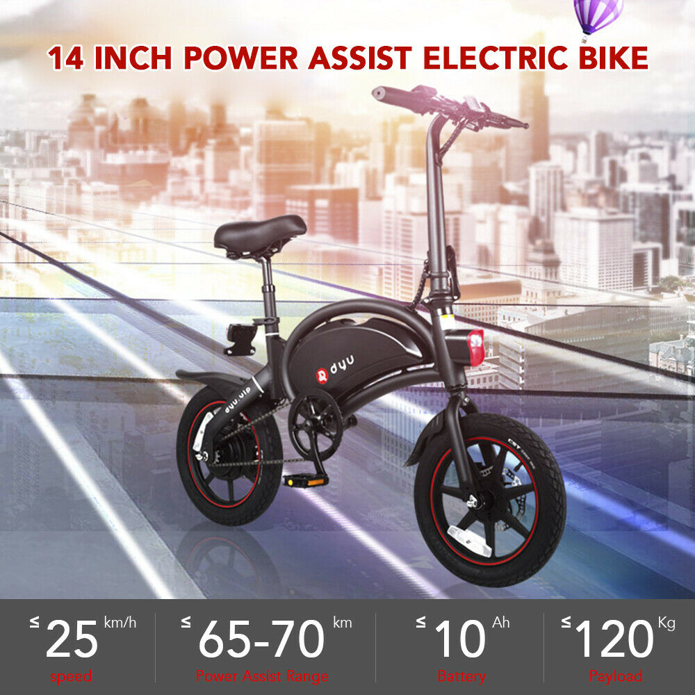DYU Adults 14Inch Folding Bike Power Assist Electric Bicycle Moped E-bike 25km/h £399.99 @ eBay