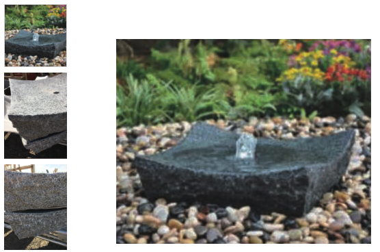 Natural concave, square bowl water feature