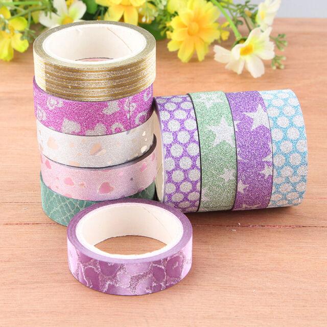 10Stk 15mm*5m DIY Washi Klebeband Masking Tape Basteln Reispapier Set
