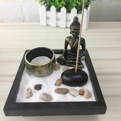 Mini Jardin Zen Japonais Brûleur à Bougies avec Bouddha Statue Ornement Yoga