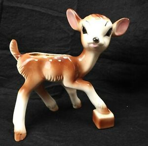 Vintage-Large-Ceramic-Spotted-DEER-Fawn-Bambi-Planter-Figurine-9-034-x8-25-034