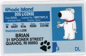 Brian the dog from the family guy fun novelty license id card ebay image is loading brian the dog from the family guy fun publicscrutiny Choice Image