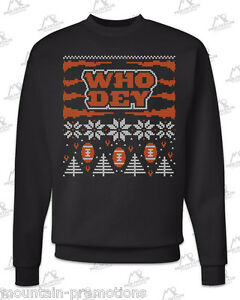 Cincinnati Bengals Who Dey 'Ugly Christmas Sweater' Black Sweatshirt GcVFI15q