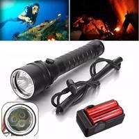 8000Lm 3x XM-L2 T6 LED Underwater 100M Scuba Diving 18650 Flashlight Torch Lamp