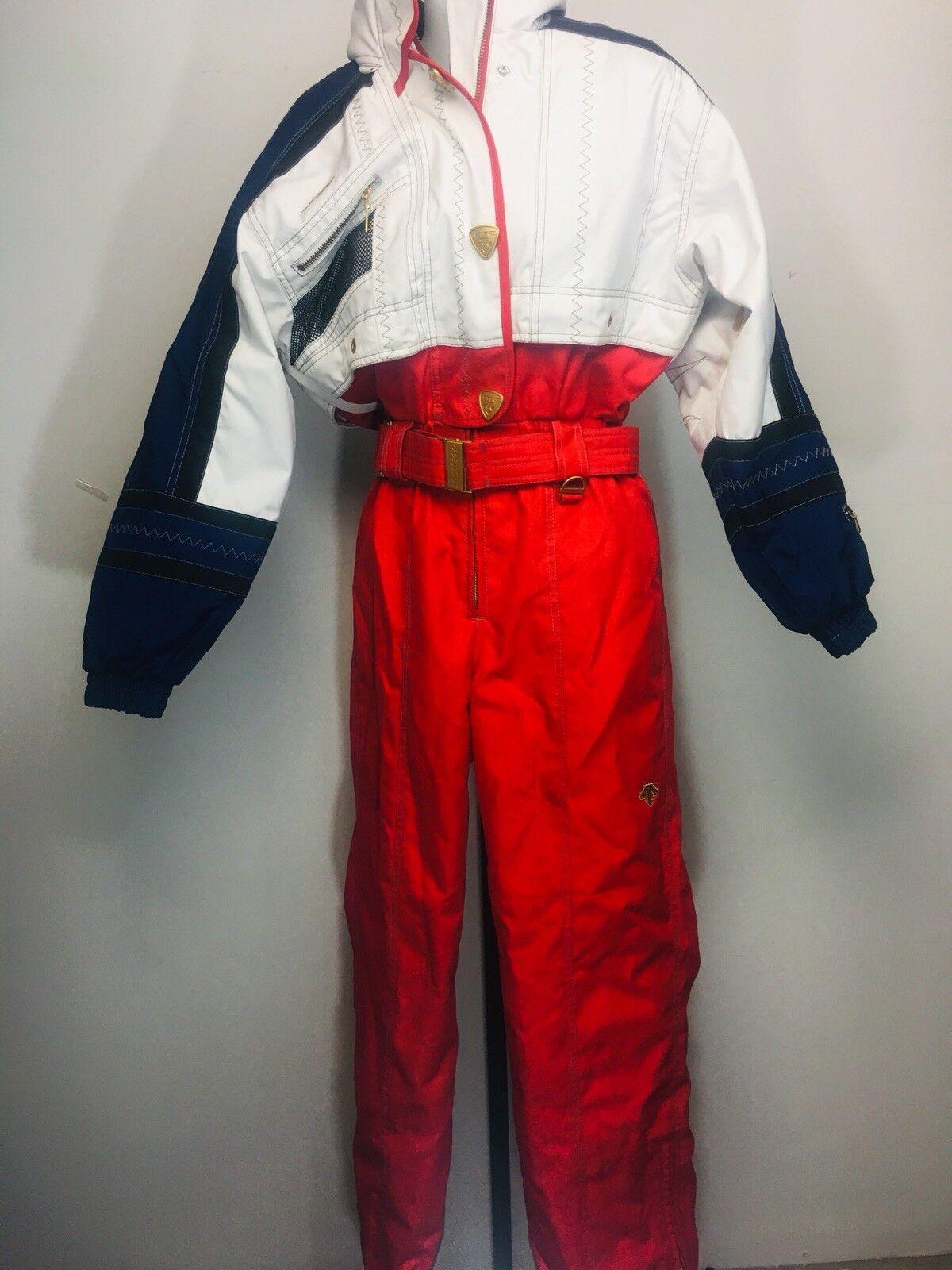 Descente Vintage Sz 6 Ski Snow Suit rot Weiß Blau USA Gold Accents damen's