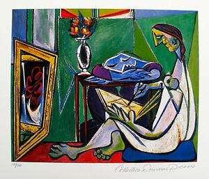 Pablo-Picasso-WOMAN-DRAWING-Estate-Signed-amp-Numbered-Small-Giclee-Art