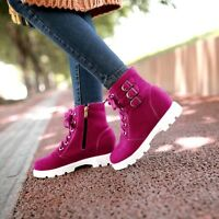 Womens Lace Up Velvet Buckle Combat Military Ankle Boots LOW Heel Shoes College